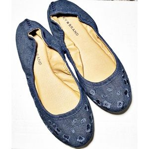 Lucky Brand Denim Embroidered Emmie Flats Size 9